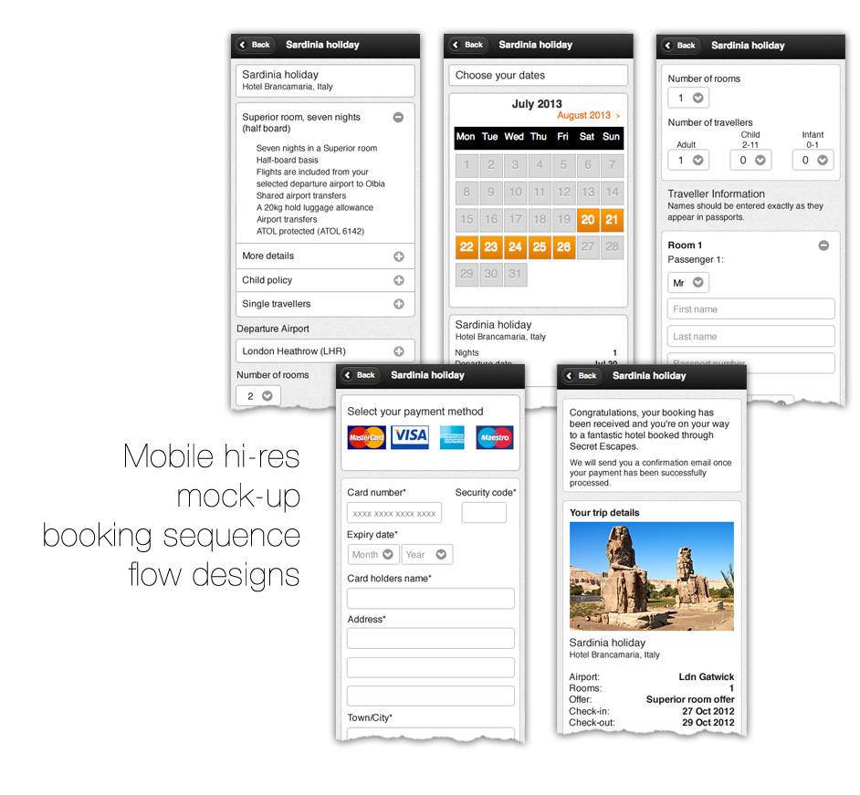 Booking flow - Mobile